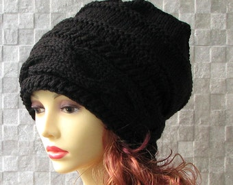 XXL Slouchy Hat Black hat, Womens Hat  Slouchy Women Hat  Cable Women Hat Oversized Cable Hat Chunky Knit Hat Beanie Hand Knit Hat