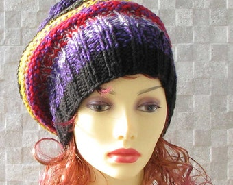 Unique Hats -  Hand Knit Hat - Colorful Women Hat - Slouchy Hat - Chunky Knit Hat - Women Beanie - Winter Accessories Chunky Knit