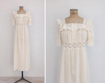1970s Dress - Vintage 70s Cream Cotton & Crochet Maxi Dress - Summer Solstice Dress