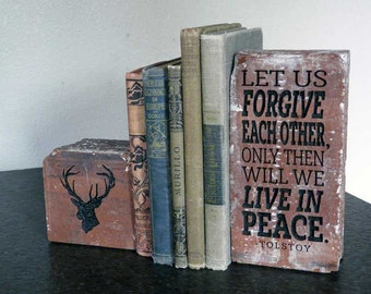 Tolstoy Quote: Let Us Forgive each Other, Only Then Will We Live In Peace Rustic Red Brick Bookend