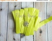 """Clearance 35% OFF 5/8"""" Fold Over Elastic - NEON YELLOW Color - Neon Fold Over Elastic - Yellow Elastic  -Diy Hair Accessories Supplies"""