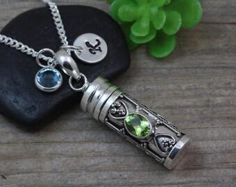 Angel wing locket necklace sterling silver guardian angel for Pill bottle jewelry