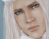 """Winter King - ACEO Limited Edition Print, colored pencil drawing, portrait, fantasy, 2.5 X 3.5"""""""