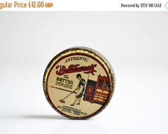 ON SALE Tin box, antique, small, Betterwear polish, round, England