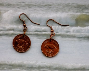 1986/70 Bermuda One Cent, Genuine Coin Earrings with Pig, Good Luck