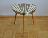 Original Mid Century Plant Stand. Striped. Cream and pearl taupe. 1950s. Small Table. Germany. 1007