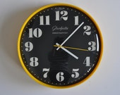 Extremely Rare Vintage German Wall Clock Glashuette. 1970s. Yellow Rim. Glashütte.