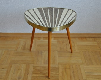 10% OFF Original Mid Century Plant Stand. Striped. Cream and pearl taupe. 1950s. Plant stand. Small Table. Germany. 1007