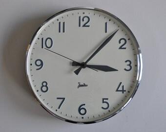 "10% OFF Vintage German Industrial wall clock from Jundes. 1970s. Black Rim. 12"" diameter. Made in Germany. 1002"