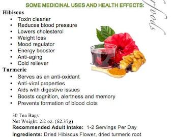 Simply Natural 100% Organic Hibiscus Flower Turmeric Root Herbal Tea (30 Tea Bags) Caffeine Free