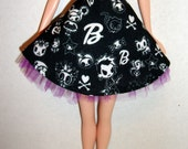 Black and White Tokidoki Miniature Skirt with purple tulle trim for Model Muse Barbie Dolls NEW
