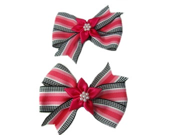 Pink Striped Hair Bows, Girls Bow, Pink Bow, Toddler Hair Bow, Pigtail Bows