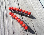Orange  Beaded French Hair Barrettes Clips (2), Wire-Wrapped Hair Accessories, Orange Accessories