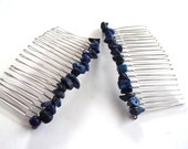 Gemstone Hair Accessories, Silver Hair Comb,  Lapis Lazuli Gemstone Chips, Blue Hair Accessories, Decorative Combs, Gift Accessories