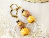Upcycled vintage rose earrings / yellow rose earrings / upcycled earrings / vintage czech glass / vintage rose / shabby / repurposed