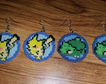 Pokemon Cross Stitched Earrings