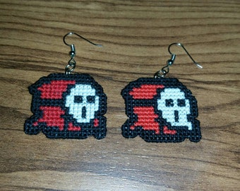 Shy Guy Cross Stitched Earrings