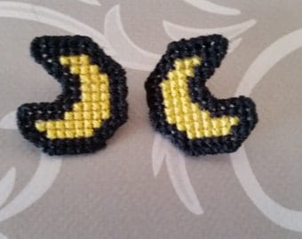 Cross Stitch Moon Studs