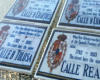 New Orleans, Coaster Set ,French Quarter,Spanish Tile Replicas, Wedding Favors, Corporate Gifts, Wholesale Pricing, Hostess Gift, wedding