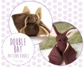 Double Bat Pattern Bundle - Stuffed Animal Sewing Patterns - Two Difficulties of Bat Plushie Patterns