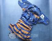 Ravenclaw Spells and Stripes One Size Custom Cloth AIO, AI2, or Pocket Cloth Diaper