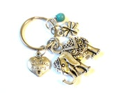 Sacred Elephant Keychain Bag Charm Sisters Always Best Friends Bestie Forever Turquoise Yoga Accessories Clover Stocking Stuffer Christmas