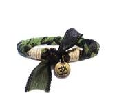 Om Silk Ribbon Bracelet Bohemian Original Ooak Ohm Aum Namaste Handmade Green Black Hippie Yoga Jewelry Bohemian Hemp Yogi Boho Christmas