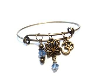 Bangle Bracelet - Lotus Bangle Bracelet - Namaste Bracelet - Yoga - Yoga Jewelry - Buddhist Gift - Yoga Teacher Gift, Tree Bangle, Unique