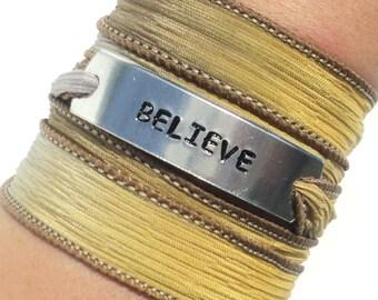Believe Bracelet, Silk Wrap, Yoga, Jewelry, Hand Stamped, Inspirational, Wrap Bracelet, Christmas, Stocking Stuffer, Beleive, Ribbon Wrap