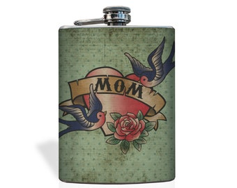MOM Tattoo Flask - Stainless Steel 8oz Flask - Tattoo Flask