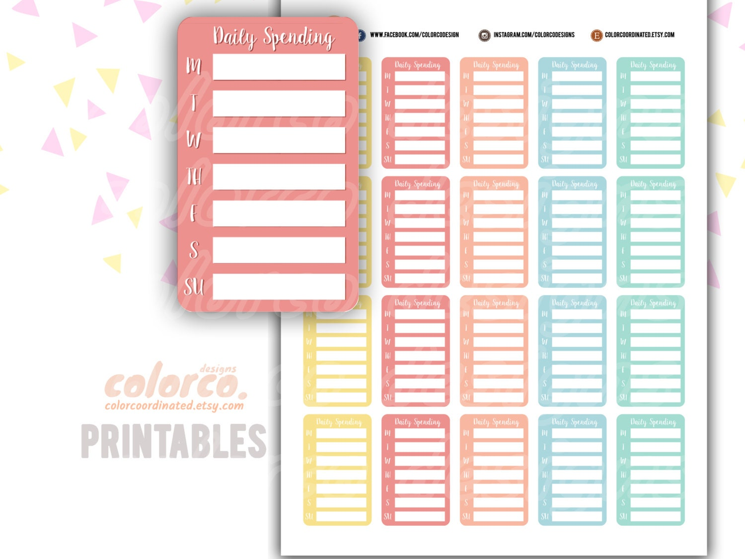 Daily spending tracker Printable Planner Stickers Erin Condren