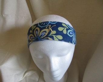 Blue Floral Reversible Headband
