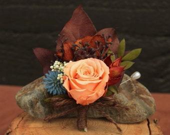 Fall Preserved Rose Wedding Boutonniere, Peach, Plum, Chocolate & Blue Bridal Boutonniere, Autumn Boutonniere, Fall Rose Grooms Boutonniere