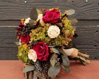 Sale Dark Fuchsia, Cream and Green Wedding Bouquet, Preserved Rose & Hydrangea Bridal Bouquet, Garden Bouquet, Hydrangea Brides Bouquet