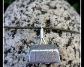 Rock Climber's Necklace - Repurposed Reversible Vintage Climbing Stopper on Olive Green Leather Cord with Sterling Silver