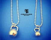 Kettlebell Necklace, Kettle Bell Charm, Workout Necklace, Big Kettlebell, Small Kettlebell, Fitness Jewelry, Weightlifting Necklace