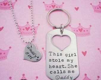 This Girl Stole My Heart She Calls Me Daddy Keychain and Necklace Set, Daddy Daughter Gift, Valentines Day, Fathers Day, Daddy's Girl