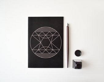 A5 Notebook Black and Lilac Abstract Geometric