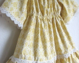 Girls Thanksgiving Dress, Ready to Ship Size 2 Girls Dress, Mustard Yellow & Ivory Peasant Dress w/ Lace