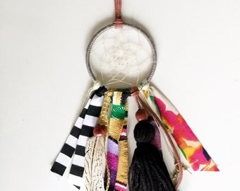 Mini Bohemian One of a Kind Dreamcatcher with Details in Gray, Mustard, and Black Tassels, Feathers, and Beads