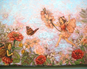 Pretty picture collage, elves, flowers and butterflies coated canvas 22 x 33 cm.
