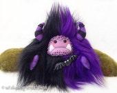 "Halloween plush yeti artist bear, halloween monster, black and purple monster plush, Halloween bat, bat brooch, ""Batilda"""