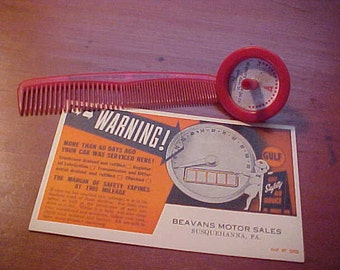 1950-60s Lot of 3 Vintage Pontiac Car Dealership Items from BEAVENS MOTOR SALES Gulf Service Station Postcard Spin Top and Plastic Comb Rare