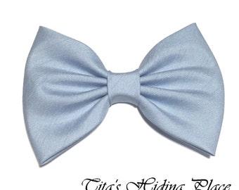 Light Blue Hair Bow, Shantung Blue Hair Bow, Girls Hairbow, Fabric Hair Bow, Baby Bows, Light Blue Bow Tie, Girl Accessories, Blue Large Bow