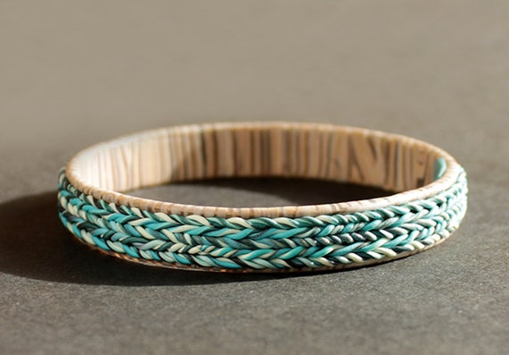 Sky Blue Rustic Bracelet Knit Inspired Clay Jewelry Simple Contemporary Design