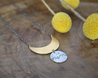 Brass Moon and Silver Mountain Pendant