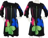 LOUIS FÉRAUD 1960s Vintage Printed Jersey Dress Mod Space Age Four-Leaf Clover Print Size 4-6 Xs-S