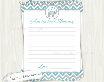 Advice, Mommy, Elephant, baby shower, mommy-to-be, mom, mom-to-be, boy, chevron, turquoise, blue, gray, grey, cards, printable, download