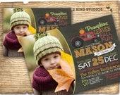 Fall birthday party invitation - Pumpkin birthday invitation - Rustic country farm invitation with tractor & pumpkin - fall invitation
