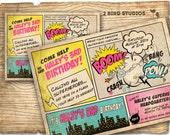 Superhero Invitation / VINTAGE Superhero birthday invitation - DIY vintage comic book printable invitation - Superhero party invite girls